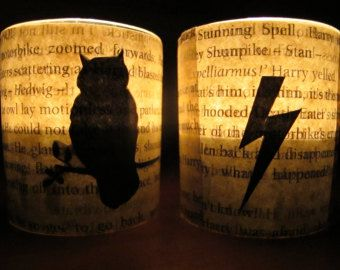 Harry Potter Tealight Candle Holder- upcycled book page decoupage - Edit Listing - Etsy
