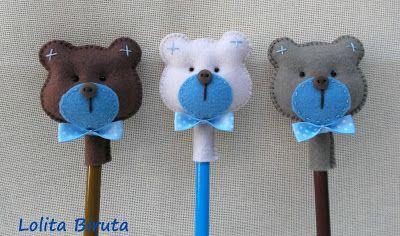 ponteira de ursinhos em feltro para meninos