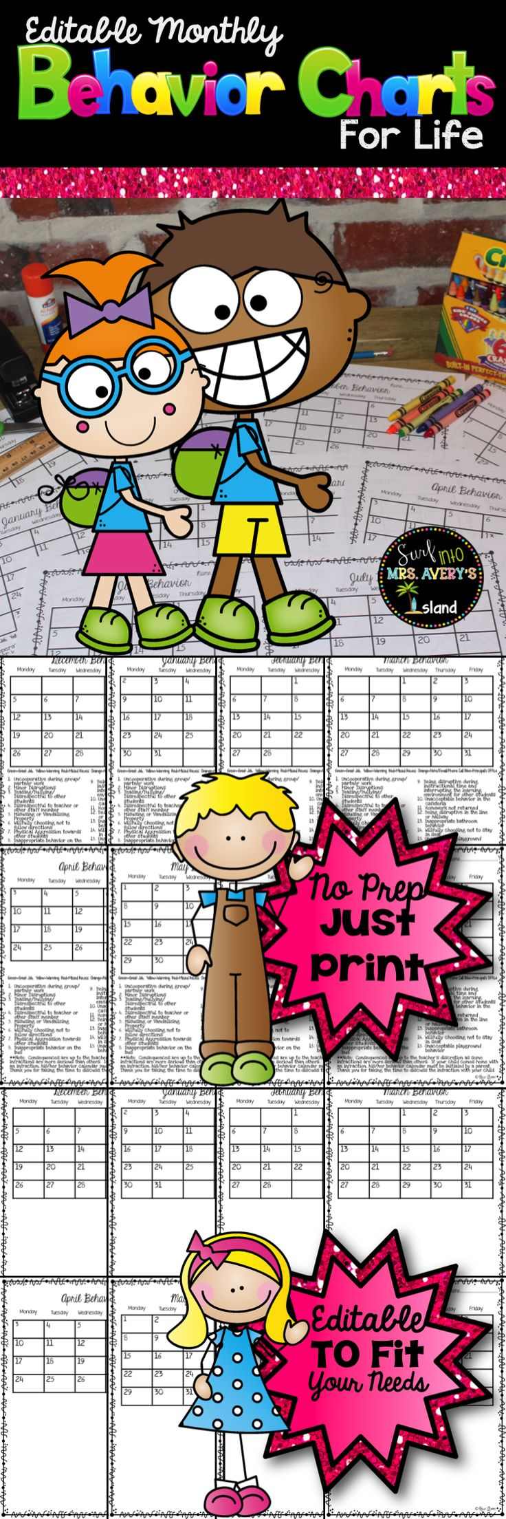 Back to School Editable Monthly Behavior Calendars for Life! One Purchase…