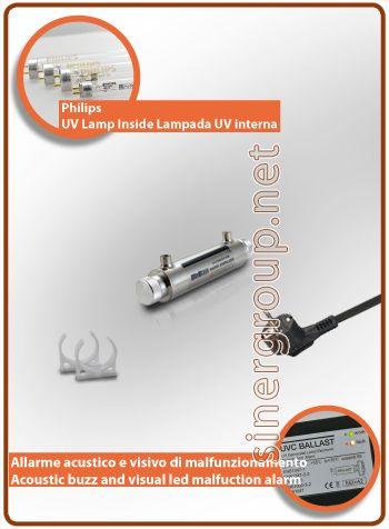 """UltraRays sistema UV Completo 6W. 1/4"""" F.  Costruito in corpo in acciaio Inox AISI 304, il sistema è compreso di clip per il fissaggio. * Pressione massima di esercizio: 10bar (145psi) * Radiazione ultravioletta: 30.000 W/cm2 * Portata acqua filtrata: 1,3LT/MIN. (0,35 GPM) * Portata acqua osmotizzata: 1,8LT/MIN. (0,48 GPM) * Alimentazione: 220-240V 50/60Hz 0,03A * Ratio alimentazione: 8W. * Philips vita media lampada: 9.000h. - max. 1 anno * Dimensioni (mm.): L. 251 x Ø 51"""
