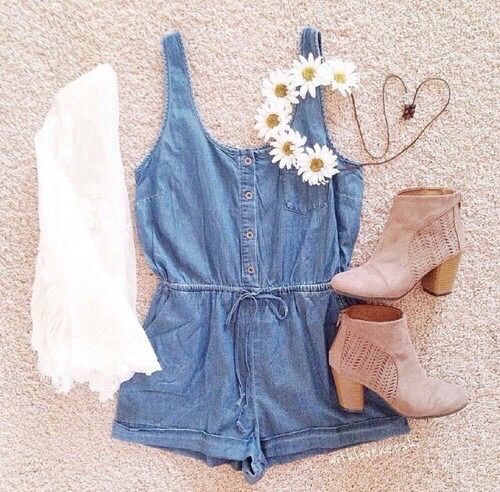 Teen Fashion.. jean romper, nude shoes ans cute flower headband