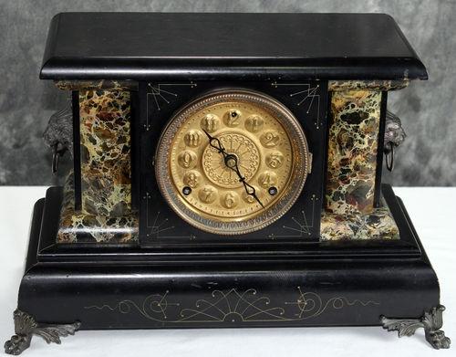 Antique EN WELCH Camilla Urso 8 Day Black Mantel Clock Pendulum Chime Victorian It Is In Working Order!