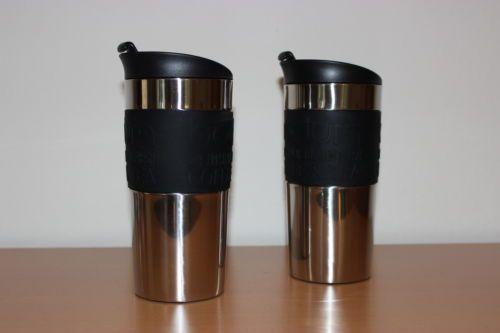 2-X-Bodum-Travel-Mug-Thermobecher-Kaffee-Becher-0-35-L-Edelstahl-Schwarz-NEU