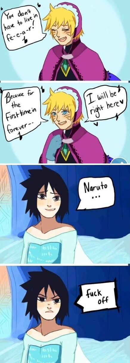 If Naruto was a disney movie... Hahahaha! Though Sasuke has fire element so I don't see how he would work out to be Elsa(suke)