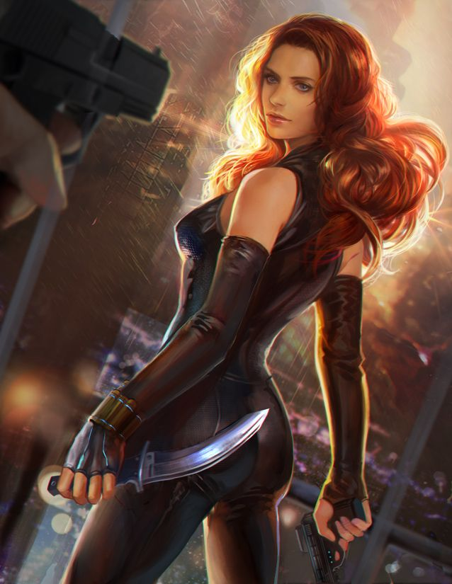Black widow by jiuge. Love this alternative for her costume!