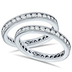 3ct diamond eternity milgrain wedding ring guard set - Wedding Ring Guards