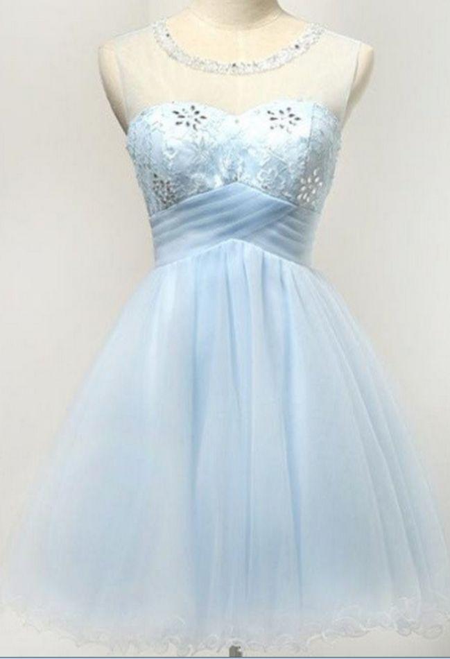 Light blue short tulle, pretty girl dress homecoming