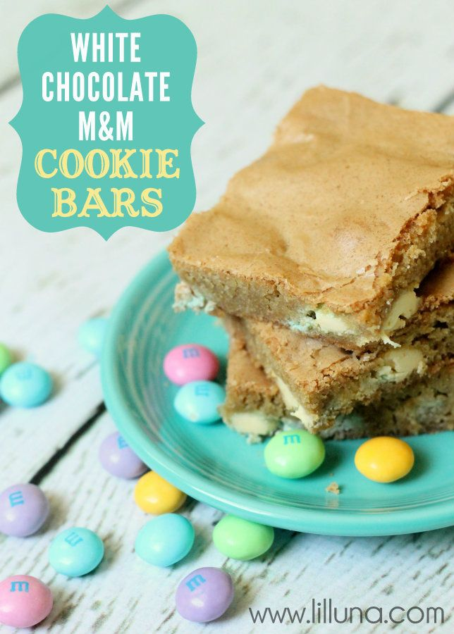 The perfect Easter dessert - quick, easy and delish. White Chocolate M Cookie Bars on { lilluna.com }