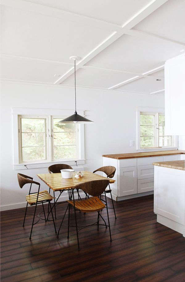 B L O O D A N D C H A M P A G N E . C O M:: Interior Design, Kitchens, Table And Chairs, Ideas, Ceiling, Dark Wood Floors, Kitchen Dining, Space