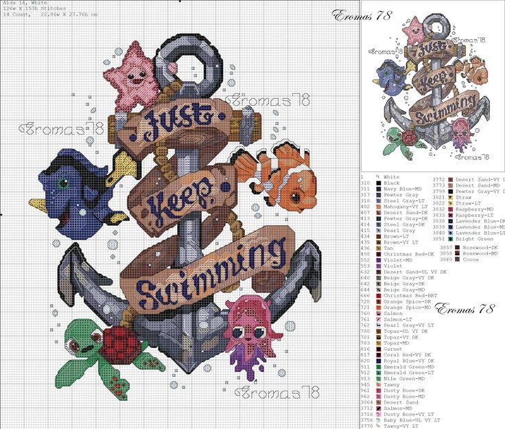 "Disney Finding Nemo ""Just Keep Swimming"" Cross Stitch Pattern"