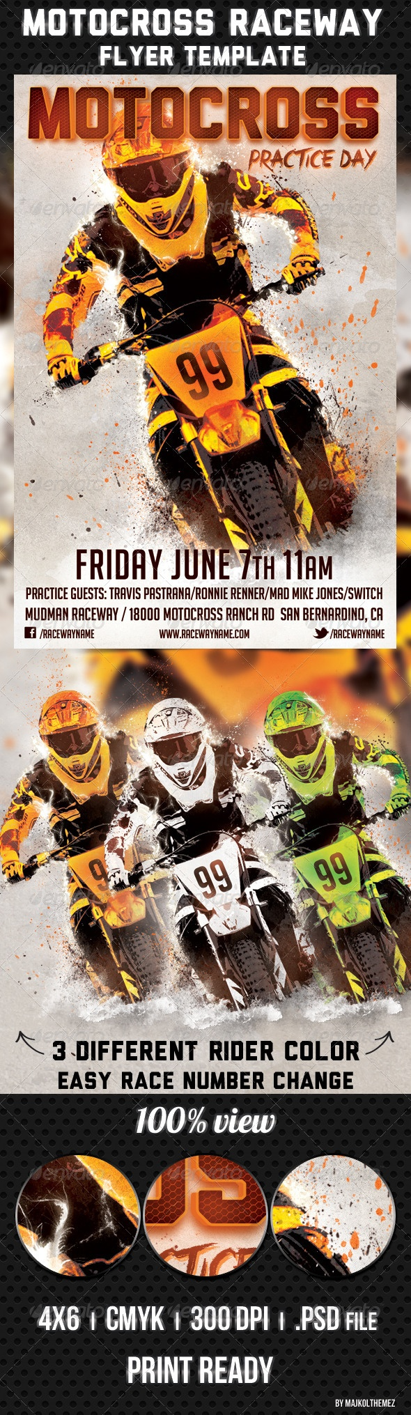 Motocross Raceway Flyer Template  Motocross Raceway Flyer Template Good way to promote your Motocross/Enduro/Supercross Race event/track/practice days or races. Tree different color rider with editable race number.