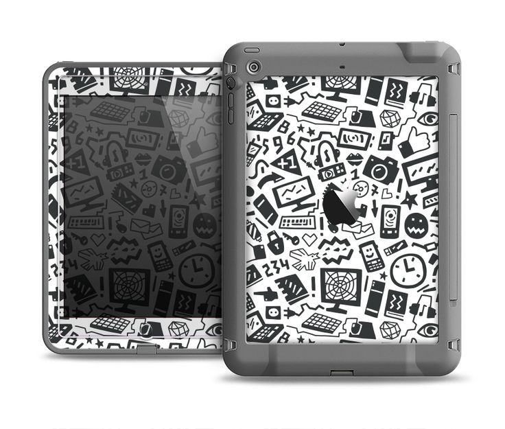 The Black & White Technology Icon Apple iPad Air LifeProof Fre Case Skin Set