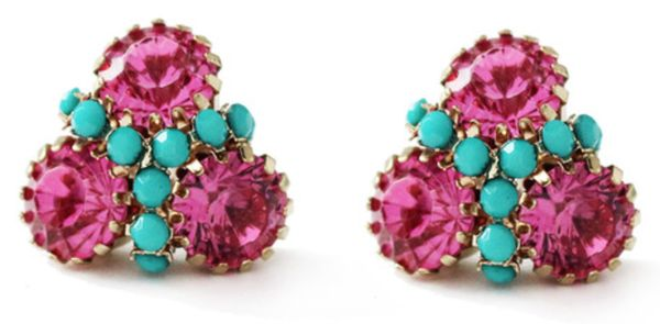 Stud earrings in pink and turquoise.
