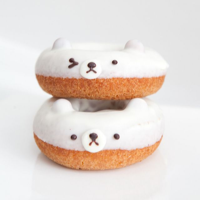 bear donuts by nophoto.nolife, via Flickr. cute food. doughnuts.