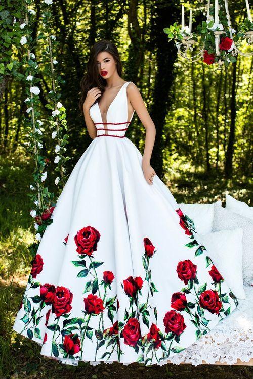3d3aaf7e18e Tarik Ediz - 50275 Deep V-neck Floral Print Ballgown  Long Prom Dress  (Taffeta gown