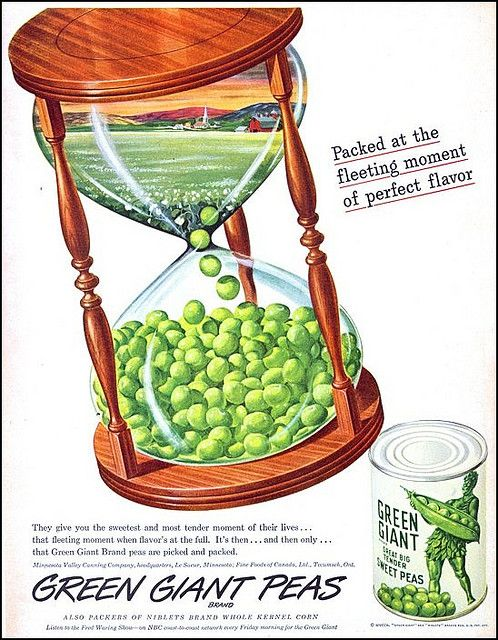 What happens when the peas run out? :) vintage food ad 1950s