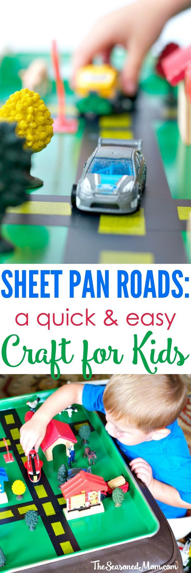 With just a few minutes and a handful of simple supplies, you can create this Homemade Gift for Kids: Sheet Pan Roads! #kids #craft
