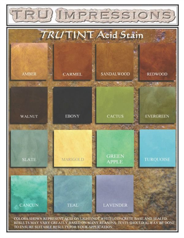 Concrete Acid Stain Color Chart Acid Staining Concrete