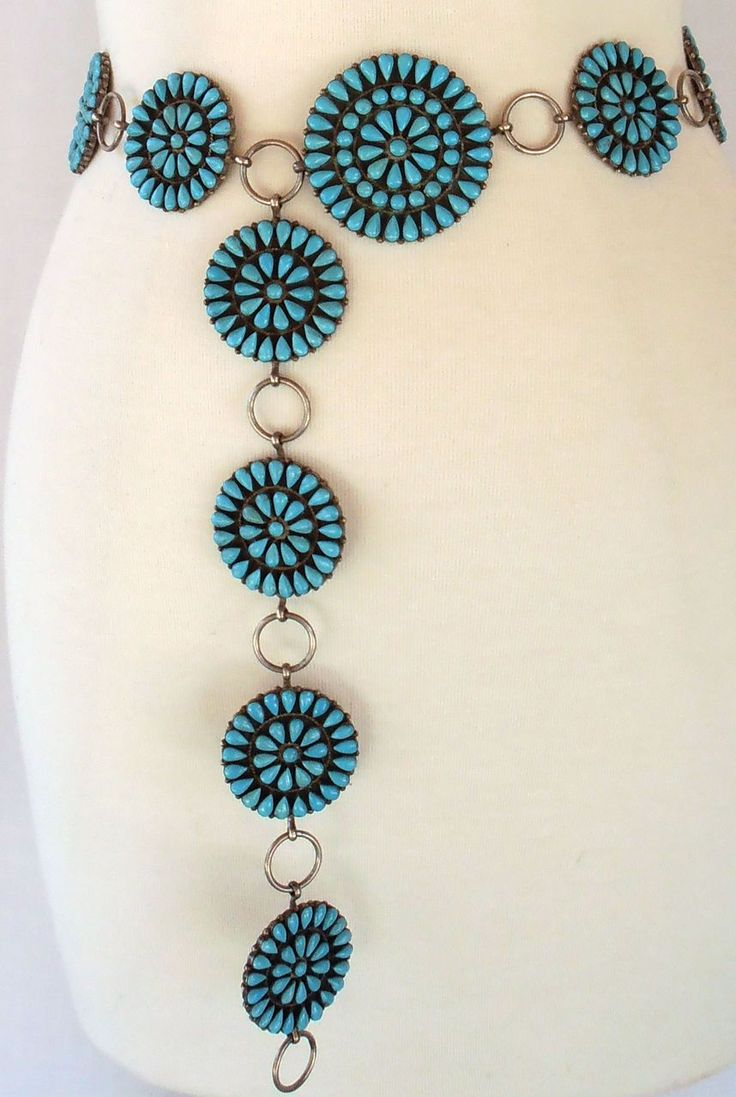 Vintage Pawn Zuni Turquoise Sterling Silver Native American Indian Concho Belt Necklace