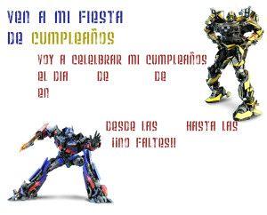 Invitacion de transformers