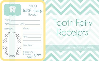 a little delightful: {printable} Tooth Fairy Receipts and Childhood Tooth Record