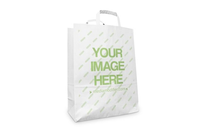 Seems like the bag is full, but what's in it? Make your own branded paper bag design with this online mockup template. A blank paper bag standing on a white background. Upload your own logo design or image and customize the color of the bag.
