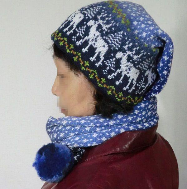 帽子マフラー(エストニア)トナカイ ボルドーA,B,Cの3カラータイプからお選びください。Aグレー系トナカイBアイボリー系トナカイCバルト三国のひとつエストニアはニットとリネンの国です。またもと関取把…