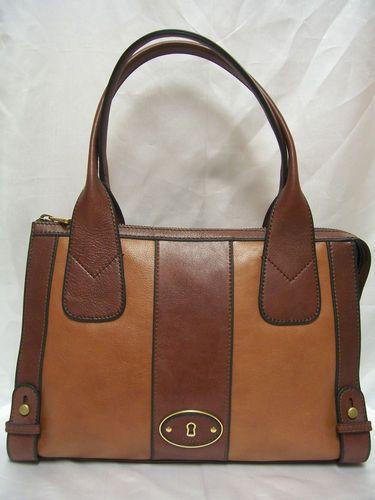 Fossil Vintage Reissue Brown Multi Leather Satchel Handbag $198 | eBay