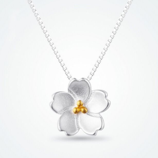 925 Sterling Silver flower necklace for women girl Sakura necklaces  pendants high quality Jewelry hypoallergenic collares