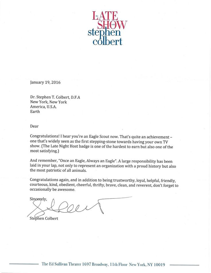 Read Stephen Colbert's letter to an Eagle Scout