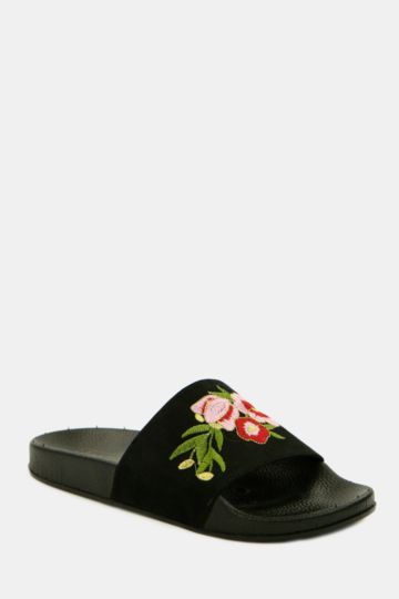 Embroidered Mule Slider
