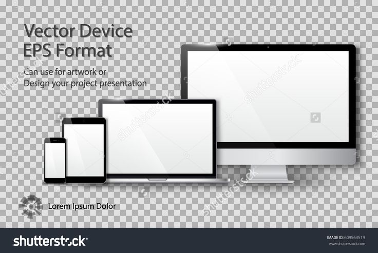 Realistic Computer Monitor, Laptop, Tablet and Smart Phone with White Screen Isolated on Transparent Background. Can Use for Template Project Presentation. Electronic Gadget, Device Mockup Set.