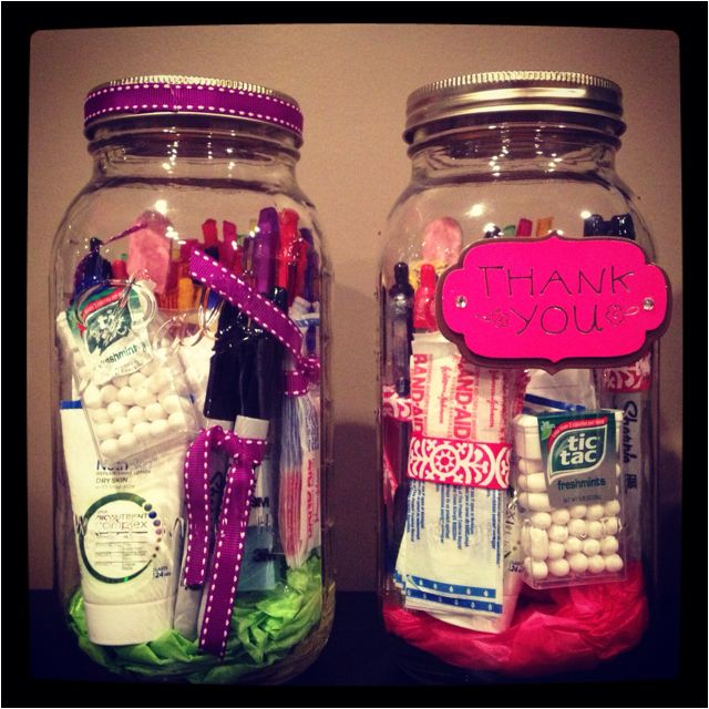 Thank you gifts for teachers. Jars filled with teacher essentials-pens, band aids, nail file, tic tacs, post-its, Sharpies,etc.