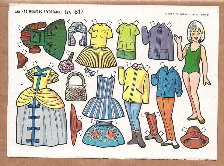 Vintage Paper Sheet with Cut Out Doll Fancy Dress Wig 8 Dress Trousers Hat | eBay