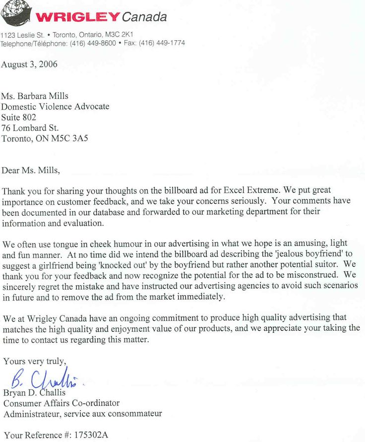 Letter to wrigley canada closing a letter letter and