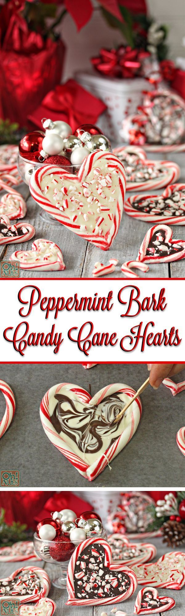 Peppermint Bark Candy Cane Hearts - Christmas candy that's easy to make, looks beautiful, tastes delicious, and is perfect for gift giving!