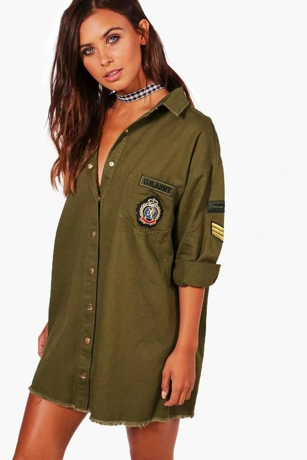 boohoo Petite Cara Military Shirt Dress