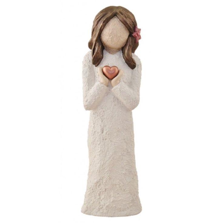Jentefigur Med Hjerte Og Blomst i Håret - Brunt Hår, 21 cm