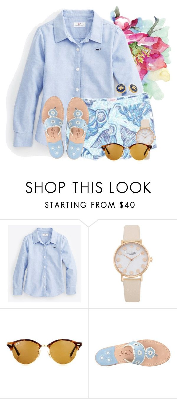 """""""Beautiful Blues """" by flroasburn ❤ liked on Polyvore featuring Oxford, Ray-Ban, Jack Rogers and Tory Burch"""