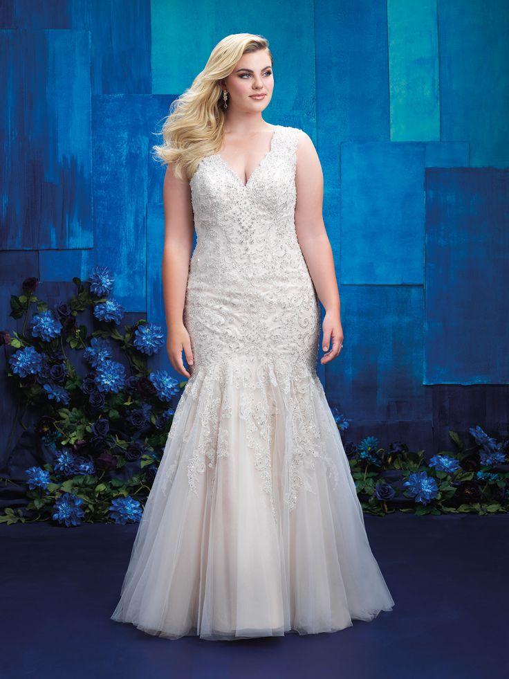 Allure Women S Plus Size Bridal Lace Liques Illusion Back Fit And Flare Look Dallas Brides
