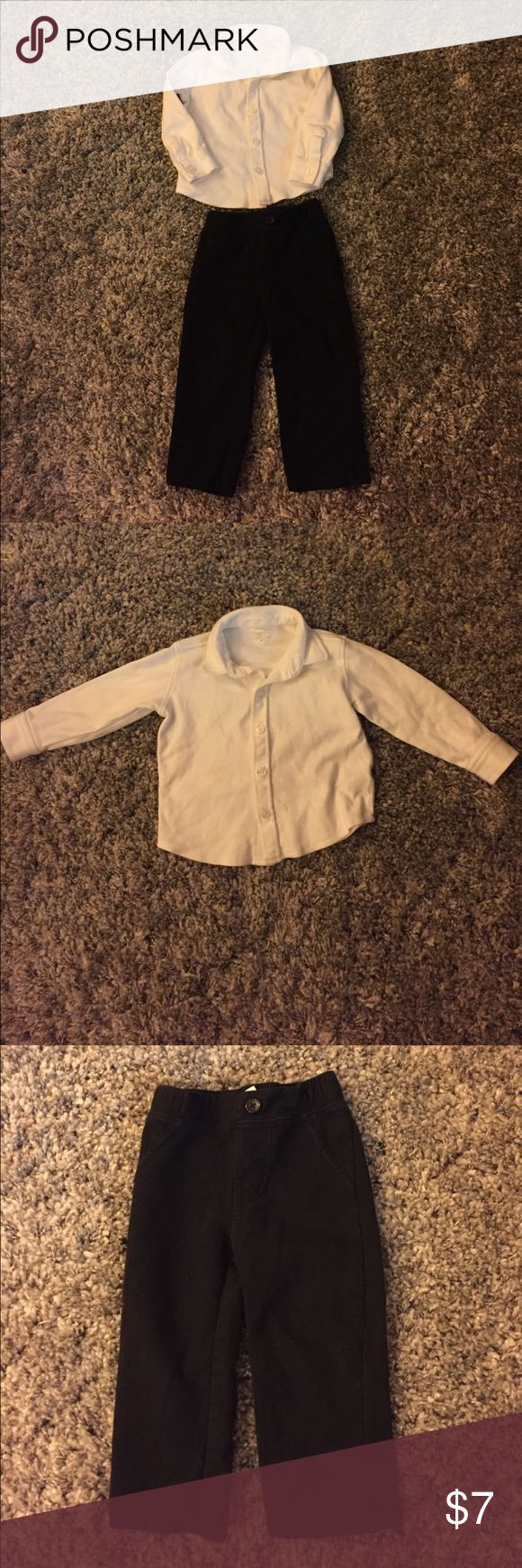 Boys dress outfit Boys button up dress shirt and pants in good condition. There is a small mark on the sleeve as noted in the 4th picture. These are 100% cotton so your little one can be comfy and stylish! Koala Kids Matching Sets