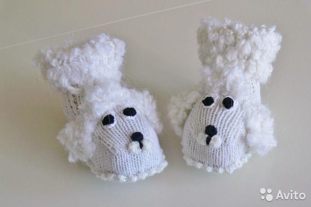 Новые вязаные пинетки для новорождённых Собачки— фотография №5