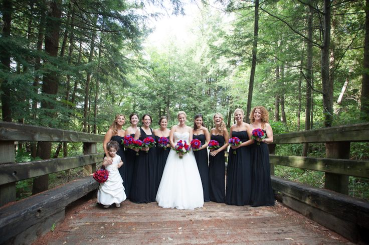 McMichael Art Museum bride with bridesmaids on bridge