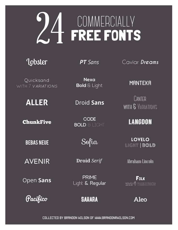 24 Free Font for Commercial Design use. Cheers!