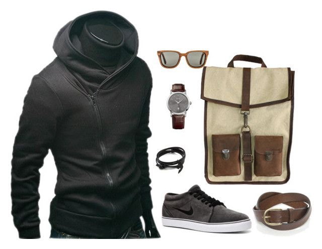 Men's Outfit by geekhoodies on Polyvore featuring Kjøre Project, HUGO, MIANSAI, Shwood, NIKE, BOSS Orange, outfit, Geek, menswear and outfits