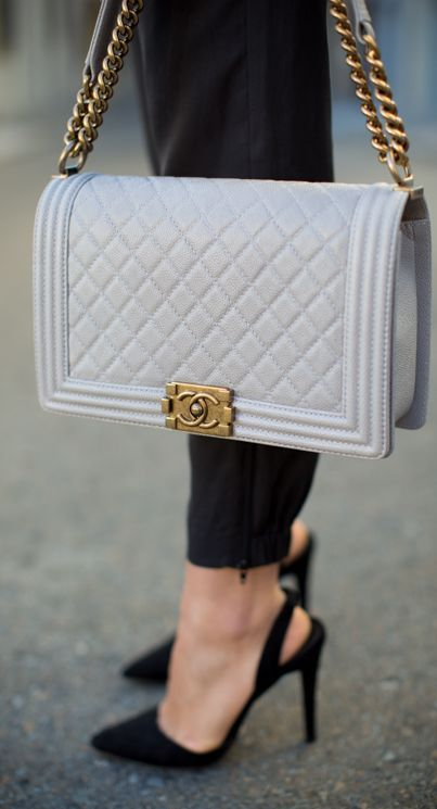 Chanel Grey Vintage Metal Quilted Leather Shoulder Bag