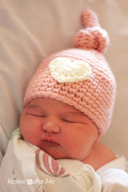 Crochet Newborn Knot Hat Pattern by Sarah@zimmermanzoo  (Very similar to the Elf Hat pinned here,,that has become unavailable)
