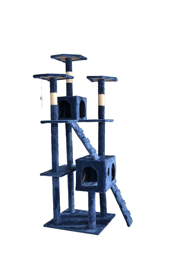 Cute and Cozy Navy Blue Kitty Tree Play House c/w Scratch Post -- Awesome cat product. Click the image : Cat tower