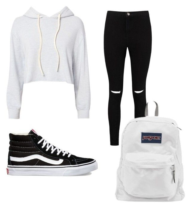 """""""Black white style #vans #jansport"""" by anggierozyan on Polyvore featuring Monrow, Boohoo, Vans and JanSport"""