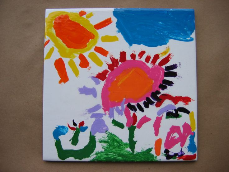 beautiful ceramic tile painted by preschool age child ...